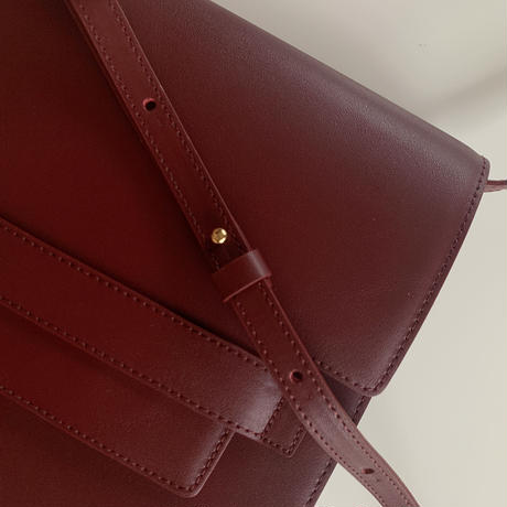 【即納】leather clip bag[wine]
