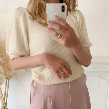 short puff sleeve knit