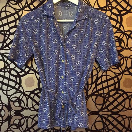 半袖開襟プリントシャツ  紺*柄