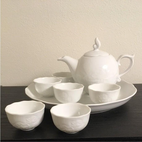 ミンロン ロータス茶器セット ホワイトロータスフラワー 0.3L