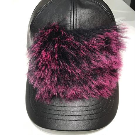 レザーファーCAP(pink)