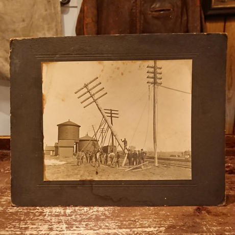 American electric pole worker   antique photo.