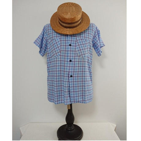 【 1940s~  QUALITY SPORTSWEAR 】   Cotton check   short-sleeved shirt