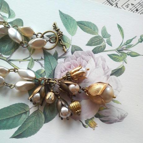 ヴィンテージ Glassパール/Flower ネックレス