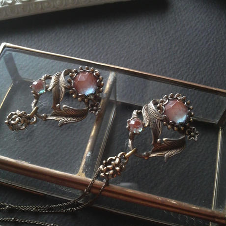 Antique サフィレット(9mm/4.5mm) Floral and Leaf ネックレス
