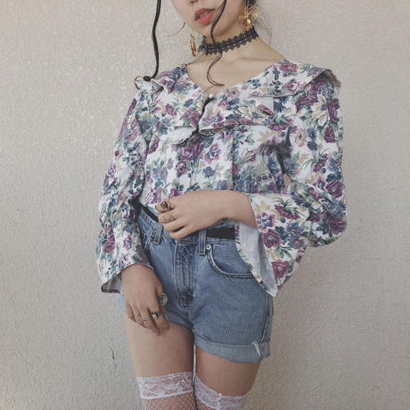 Ruffle Collar Flower Print Tops