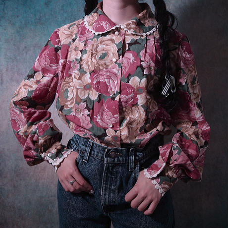 Round  Collar Rétro Flower Blouse
