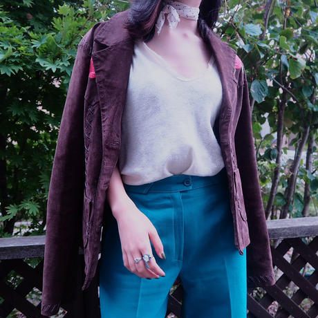 70's French Green Flare Pants