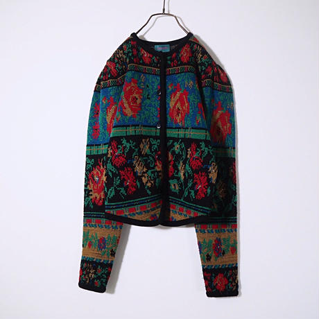 """KENZO""Dot Flower Graphic Cardigan"