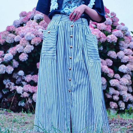 Gold Heart Button Stripe Skirt