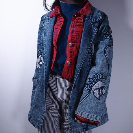 80's Flower Pattern Denim Jacket
