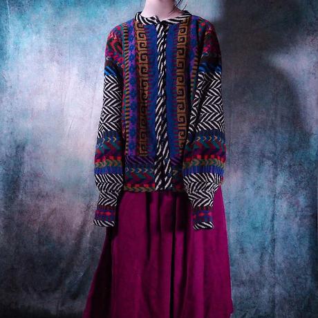 Magenta Corduroy Flare Skirt