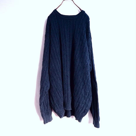 Navy Cotton Cable Knit