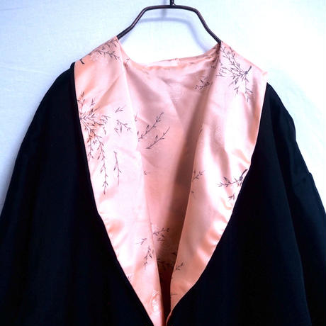 Reversible Embroidery China  Gown Black × Pink