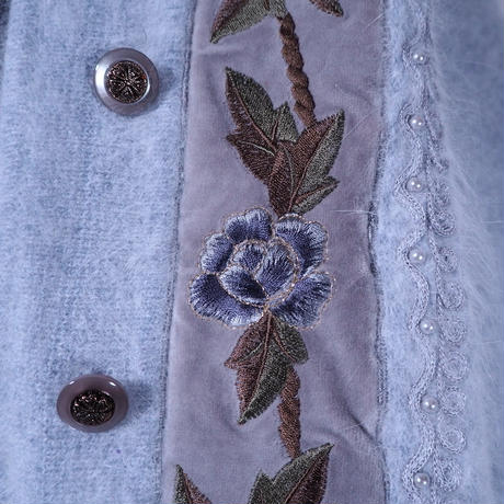 Angola × Flower embroidery Cardigan