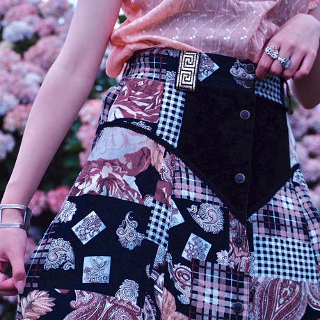 Paisley×Check×Flower Front Button Skirt