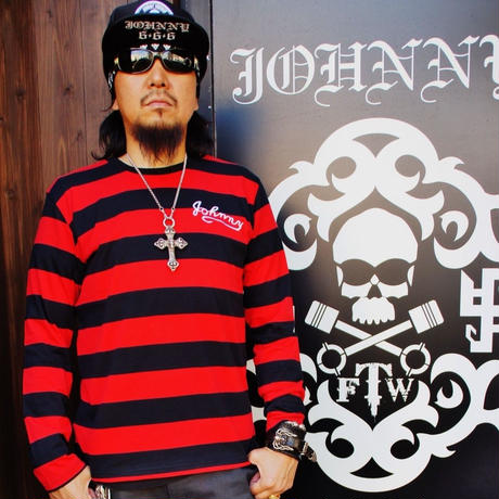 2017 JOHNNY  BOADER  LONG  T-SHIRTS  【BLACK/RED】