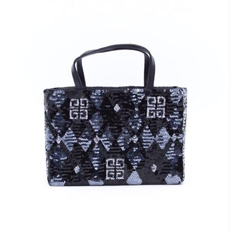 GIVENCHY ジバンシィ スパンコール ロゴ アーガイル ハンドバッグ ブラック vintage ヴィンテージ オールド