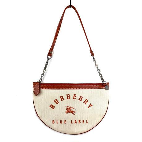 BURBERRY BLUE LABEL バーバリー ブルーレーベル ロゴ キャンバス ラウンド ハンドバッグ ベージュ vintage ヴィンテージ オールド