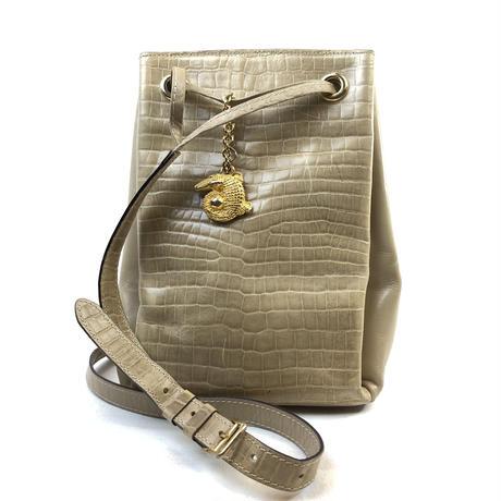 CELINE セリーヌ クロコ型押し クロコチャーム ショルダーバッグ トートバッグ 巾着 ベージュ vintage ヴィンテージ