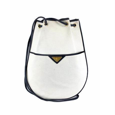 Yves Saint Laurent イヴ サンローラン YSL ロゴ プレート ショルダーバッグ 巾着 バイカラー vintage ヴィンテージ オールド ホワイト ネイビー