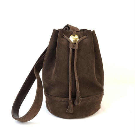 CELINE セリーヌ 巾着 スウェード ショルダーバッグ ブラウン vintage ヴィンテージ オールドセリーヌ バケツ バッグ ワンハンドル  タッセル  フリンジ