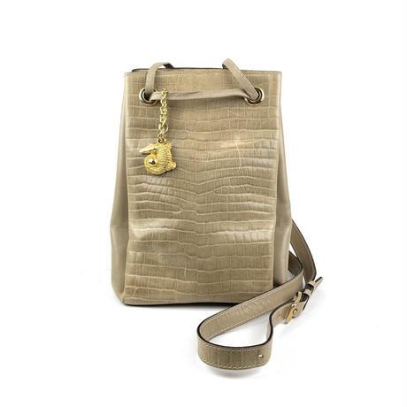 CELINE セリーヌ クロコ型押し クロコチャーム 巾着 ショルダーバッグ サンドベージュ vintage ヴィンテージ オールドセリーヌ