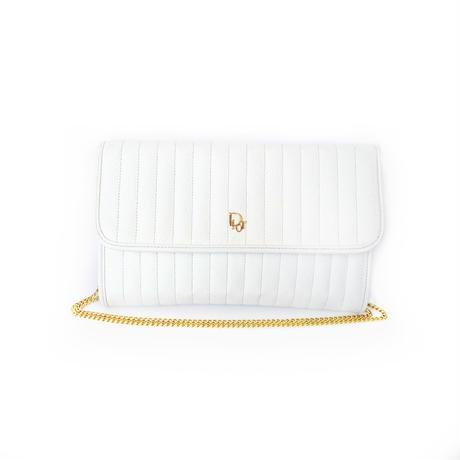 Christian Dior クリスチャン ディオール ロゴ キルティング クラッチバッグ ホワイト vintage ヴィンテージ オールド