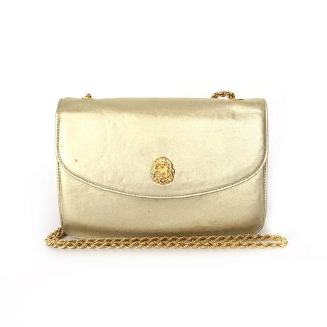 CELINE セリーヌ ブラゾン エンブレム チェーン ショルダーバッグ  ポシェット ゴールド vintage ヴィンテージ オールドセリーヌ パーティー バッグ