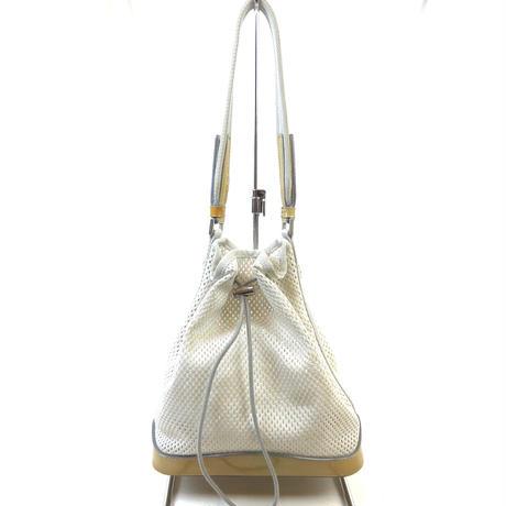 PRADA プラダ メッシュ 巾着バッグ PVC クリアバッグ オフホワイト ゴールド vintage ヴィンテージ