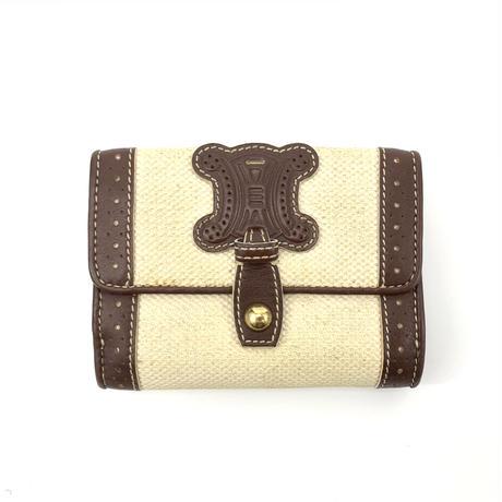 CELINE セリーヌ ビッグ ブラゾン キャンバス ウォレット ブラウン vintage ヴィンテージ オールドセリーヌ 二つ折り 財布