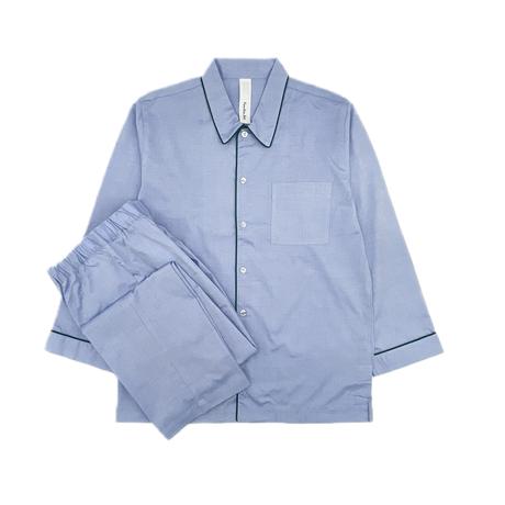 オックス シャツカラーパジャマ【Blue】