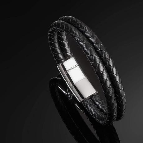 SERASAR  メンズ  プレミアム本革 レザーブレスレット シルバー