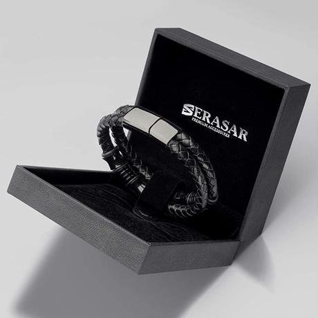 SERASAR  メンズ  プレミアム本革 レザーブレスレット ブラックスペシャル