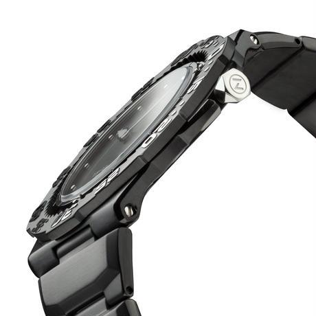 【新登場】014-02 Nove トライデント     BlackSilver  200m防水 超薄型ダイバーズウォッチ