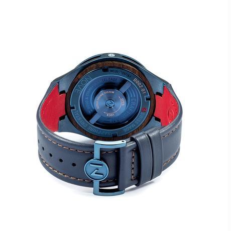 D002-01 Nove クラフトマン Blue    200m防水 ウッドベゼル レザーベルト