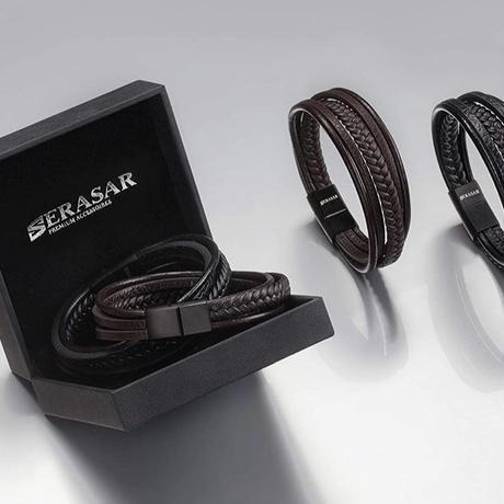 SERASAR  メンズ レザーブレスレット シンプル ブラック
