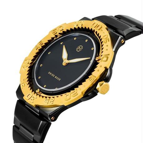004-02 Nove トライデント Black Gold  200m防水 超薄型ダイバーズウォッチ