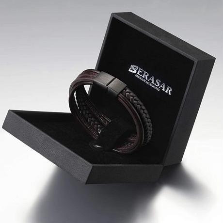 SERASAR  メンズ レザーブレスレット シンプル ブラウン