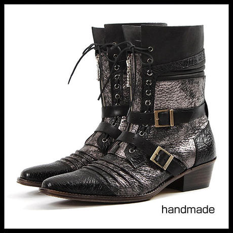 ベルト付きショートブーツ★ ハンドメイド ウエスタンブーツ ショートブーツ メンズ ブーツ ウエスタンブーツ 本革 4cm ヒールブーツ メンズ ブーツ ブラック 黒 ブーツ