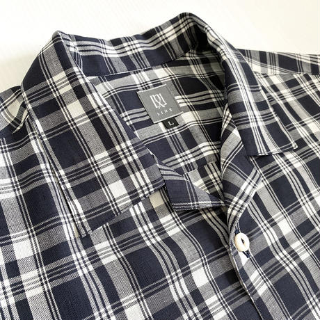 LINX|LINX  S/S OPEN SHIRT / DEEP NAVY CHECK
