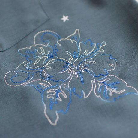 ST-248|STARTEX|KARIYUSHI WEAR|DELUXE STAR FLOWER SIDE PANEL -SLIM-/MAT BLUE