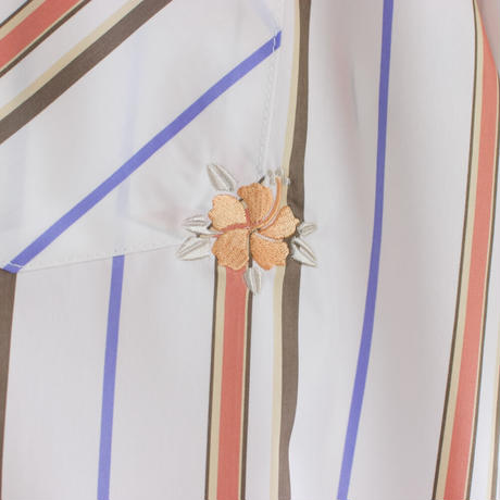ST-250|STARTEX|KARIYUSHI WEAR|DELUXE MINIBISCUS-OPEN- / IVORY MULTI STRIPE