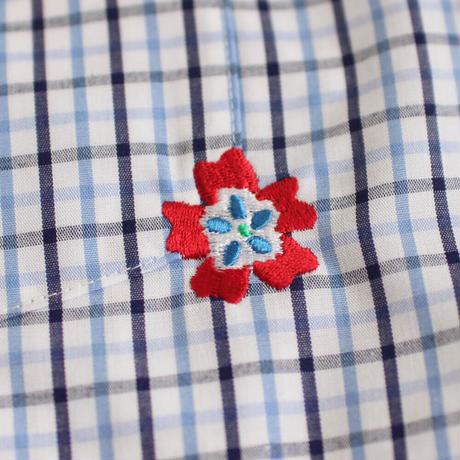 ST-194 STARTEX KARIYUSHI WEAR OLD FLOWER-SLIM-/ BLUE CHECK