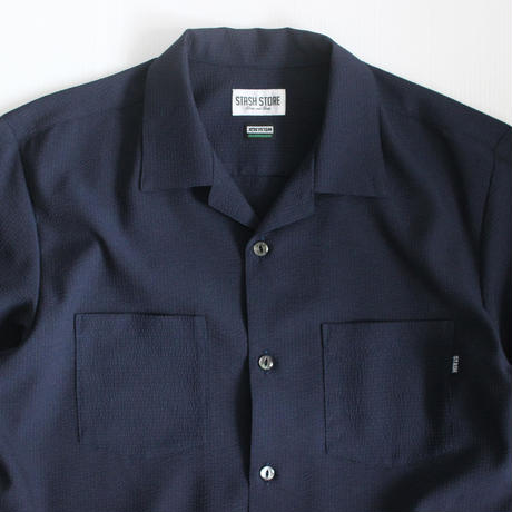 XOSYSTEM|XO x STASH L/S OPEN SHIRT / SEERSUCKER NAVY