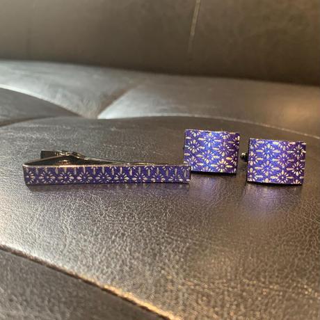 VOGA ネクタイピン&カフリンクス/菊菱紋様/瑠璃色箔/銀箔