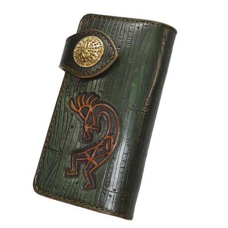 長財布 牛革 ココペリ カービング ハンドクラフト グリーン 真鍮コンチョ 18090801