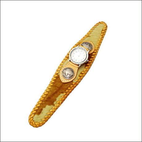 腕時計 メンズ サイズ 馬革ハラコ リストウォッチ 茶×ヌメ革 10003865