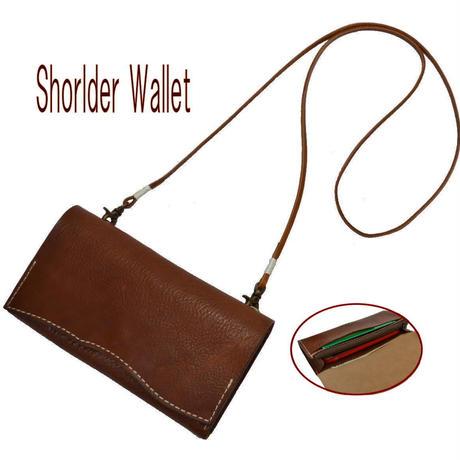 財布 レディース 斜め掛け 長財布 ポシェット ブラウン 18111501