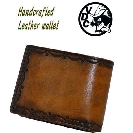 2つ折り財布 メンズ レディース 牛革 山型スタンプ ショートウォレット BROWN 19010302